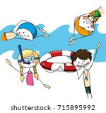cheerful baby illustration of... | Shutterstock .eps vector #715895992