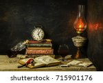 classic still life with vintage ... | Shutterstock . vector #715901176