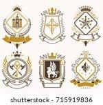 set of old style heraldry... | Shutterstock .eps vector #715919836