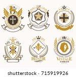 heraldic coat of arms created... | Shutterstock .eps vector #715919926