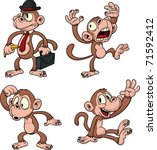 cartoon vector monkeys. all in...