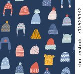 winter seamless pattern with... | Shutterstock .eps vector #715929142