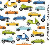 flat style seamless pattern... | Shutterstock . vector #715933432
