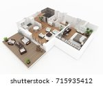 3d rendering of furnished home... | Shutterstock . vector #715935412