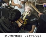 Small photo of NEW YORK, NY - September 11, 2017: Klara Kristin prepares backstage for the Zadig & Voltaire Spring Summer 2018 fashion show during New York Fashion Week Women's
