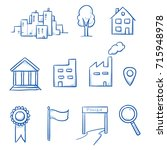 icon set with buildings and... | Shutterstock .eps vector #715948978