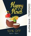 happy hours poster. vector... | Shutterstock .eps vector #715952422