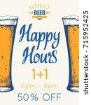 happy hours poster. vector...   Shutterstock .eps vector #715952425