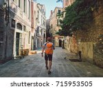 tourist goes a view with his... | Shutterstock . vector #715953505