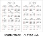 simple calendar for 2018 and... | Shutterstock .eps vector #715955266