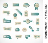 vector stickers  price tag ... | Shutterstock .eps vector #715958482