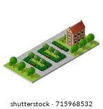 retro isometric country house | Shutterstock . vector #715968532
