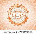 please orange mosaic emblem | Shutterstock .eps vector #715971316