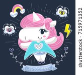 cute unicorn girl cartoon with... | Shutterstock .eps vector #715971352