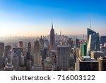 manhattan skyscrapers at... | Shutterstock . vector #716003122
