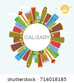calgary skyline with color... | Shutterstock .eps vector #716018185