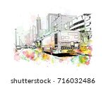 watercolor sketch of bus with... | Shutterstock .eps vector #716032486