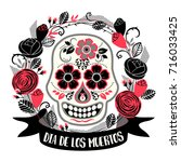 dia de los muertos. day of the... | Shutterstock .eps vector #716033425