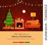christmas fireplace room... | Shutterstock .eps vector #716036212