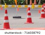 traffic cones in driving school | Shutterstock . vector #716038792