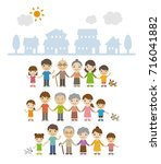three generation families... | Shutterstock .eps vector #716041882