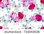 seamless pattern with bouquets... | Shutterstock . vector #716043028