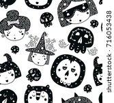 halloween background  kids... | Shutterstock .eps vector #716053438