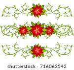 christmas borders set with... | Shutterstock . vector #716063542