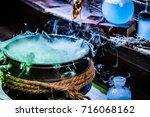 closeup of witcher cauldron... | Shutterstock . vector #716068162