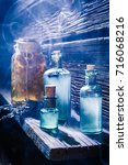 magical lab full of blue potion ... | Shutterstock . vector #716068216