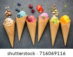 various of ice cream flavor in... | Shutterstock . vector #716069116