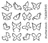 butterflies set. vector | Shutterstock .eps vector #716069545