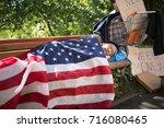 Homeless Man Using Usa Flag As...
