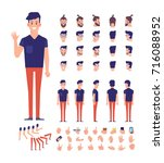 front  side  back view animated ... | Shutterstock .eps vector #716088952