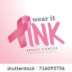 breast cancer awareness ribbon... | Shutterstock .eps vector #716095756