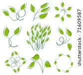 a set of green leaves to the... | Shutterstock .eps vector #71609587