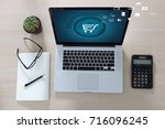 business people use technology... | Shutterstock . vector #716096245