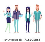 group of hipster friends. urban ... | Shutterstock .eps vector #716106865