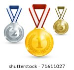 medal vector. gold  silver and... | Shutterstock .eps vector #71611027