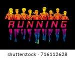 marathon runners  group of... | Shutterstock .eps vector #716112628