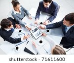 above view of business team... | Shutterstock . vector #71611600