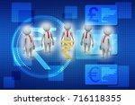 3d people around indian rupee... | Shutterstock . vector #716118355