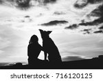 silhouette of child and dog on... | Shutterstock . vector #716120125