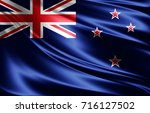 new zealand flag of silk 3d... | Shutterstock . vector #716127502