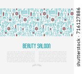 beauty saloon concept with thin ... | Shutterstock .eps vector #716127886