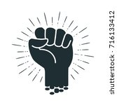 male clenched fist  logo or... | Shutterstock .eps vector #716133412