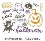 halloween hand drawn characters ... | Shutterstock .eps vector #716134552