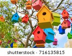 Closeup birdhouses on a...
