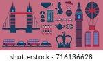 set of england symbols... | Shutterstock .eps vector #716136628