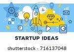 startup ideas concept on blue... | Shutterstock .eps vector #716137048